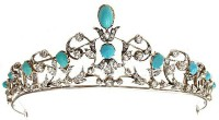 8.50cts ROSE CUT DIAMOND TURQUOISE ANTIQUE VICTORIAN LOOK 925 SILVER HAIR TIARA