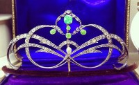 8.25cts ROSE CUT DIAMOND PERIDOT PEARL VICTORIAN LOOK 925 SILVER HAIR TIARA