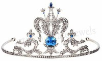9.10cts ROSE CUT DIAMOND SAPPHIRE ANTIQUE VICTORIAN LOOK 925 SILVER HAIR TIARA