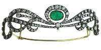 8.15ct ROSE CUT DIAMOND EMERALD ANTIQUE VICTORIAN LOOK 925 SILVER TIARA