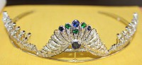8.61ct ROSE CUT DIAMOND EMERALD SAPPHIRE VICTORIAN LOOK SILVER TIARA