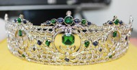 34.44cts ROSE CUT DIAMOND BLUE SAPPHIRE EMERALD VICTORIAN LOOK 925 SILVER TIARA