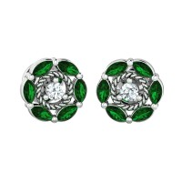 Emerald Earrings 0.05ct Diamond Studs Natural Certified Solid Gold