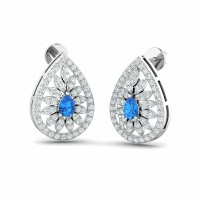 Gemstone Earrings 0.58 ct Diamond Natural Certified Solid Gold Aquamarine Wedding