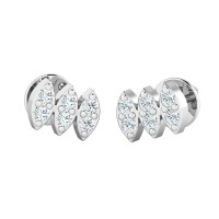 Designer Earrings 0.12ct Diamond Studs Natural Certified Solid Gold
