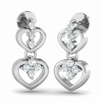 heart Earrings 0.21ct Diamond Natural Certified Solid Gold Wedding