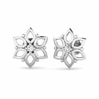 Gold Earrings 0.05ct Diamond Flower Studs Natural Certified Solid Gold
