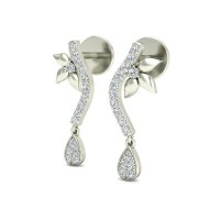 Gold Diamond Earrings 0.21 ct Designer Studs for Anniversary Gift