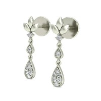 Diamond Drop Earrings 0.12 ct Natural Certified Solid Gold studs