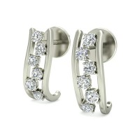 Gold Diamond Earrings 0.36 ct Designer Wedding Studs