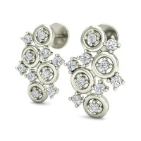 Gold Earrings 0.26 ct Diamond Designer Beautiful Studs