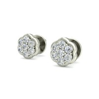 Designer Earrings 0.14 ct Diamond Natural Certified Solid Gold