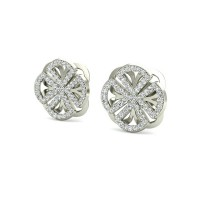 Gold Earrings 0.57 ct Diamond Wedding Anniversary Studs