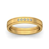 Real Certified Diamond 0.07 ct Gold Mens Ring