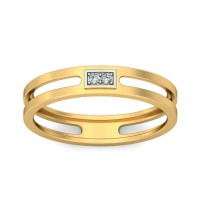 Real Certified Diamond 0.03 ct Gold Mens Ring