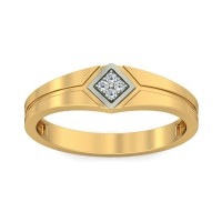 Real Certified Diamond 0.06 ct Gold Mens Ring