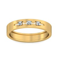 Real Certified Diamond 0.04 ct Gold Mens Ring