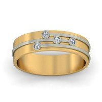 Real Certified Diamond 0.1 ct Gold Mens Ring