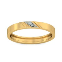 Real Certified Diamond 0.01 ct Gold Mens Ring