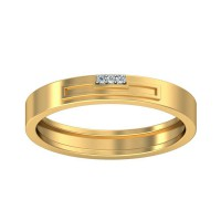 Real Certified Diamond 0.015 ct Gold Mens Ring