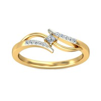 Gold and Diamond Rings 0.06 Carat Natural Certified Diamond Yellow / White Gold