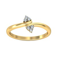 Unique Diamond Ring 0.09 Carat Natural Certified Diamond Yellow / White Gold