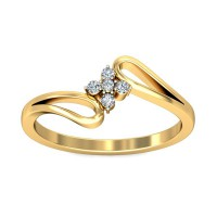 Gold Ring for Women 0.07 Carat Natural Certified Diamond Yellow / White Gold
