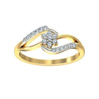 Gold and Diamond Rings 0.17 Carat Natural Certified Diamond Yellow / White Gold