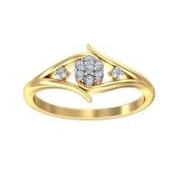 Unique Diamond Ring 0.13 Carat Natural Certified Diamond Yellow / White Gold