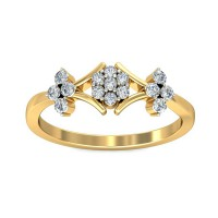 Gold Diamond Rings 0.22 Carat Natural Certified Diamond Yellow / White Gold