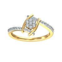 Gold Ring for Women 0.21 Carat Natural Certified Diamond Yellow / White Gold
