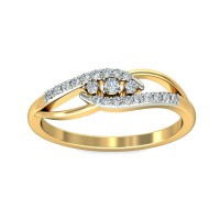 Gold Diamond Rings 0.17 Carat Natural Certified Diamond Yellow / White Gold
