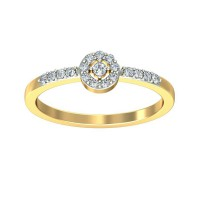 Diamond Rings 0.11 Carat Natural Certified Diamond Yellow / White Gold