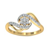 Diamond Ring Designes 0.21 Carat Natural Certified Diamond Yellow / White Gold
