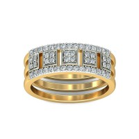 Gold Diamond Rings 0.3 Carat Natural Certified Diamond Yellow / White Gold
