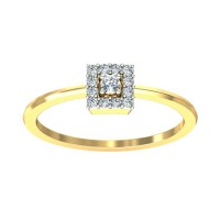 Diamond Gold Ring 0.11 Carat Natural Certified Diamond Yellow / White Gold
