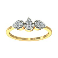 Diamond Ring 0.13 Carat Natural Certified Diamond Yellow / White Gold