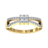 Diamond Ring 0.26 Carat Natural Certified Diamond Yellow / White Gold