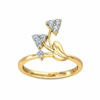 Unique Diamond Ring 0.10Carat Natural Certified Diamond Yellow / White Gold