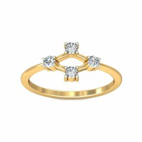 Gold Ring for Women 0.1Carat Natural Certified Diamond Yellow / White Gold