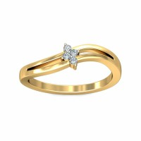 Unique Diamond Ring 0.06Carat Natural Certified Diamond Yellow / White Gold