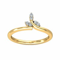 Gold Ring for Women 0.09Carat Natural Certified Diamond Yellow / White Gold