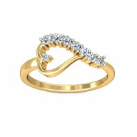 Diamond Ring 0.22Carat Natural Certified Diamond Yellow / White Gold