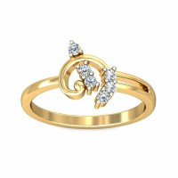 Gold Diamond Rings 0.15Carat Natural Certified Diamond Yellow / White Gold