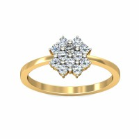 Diamond Rings 0.3Carat Natural Certified Diamond Yellow / White Gold