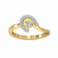 Ring For Sale 0.18Carat Natural Certified Diamond Yellow / White Gold