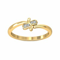 Unique Diamond Ring 0.02Carat Natural Certified Diamond Yellow / White Gold