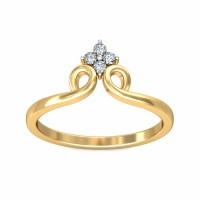 Diamond Ring 0.06Carat Natural Certified Diamond Yellow / White Gold