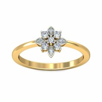 Gold Diamond Rings 0.10Carat Natural Certified Diamond Yellow / White Gold