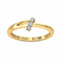 Gold And Diamond Rings 0.07Carat Natural Certified Diamond Yellow / White Gold